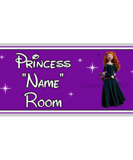 Purple Personalised Princess Bedroom Sign Merida