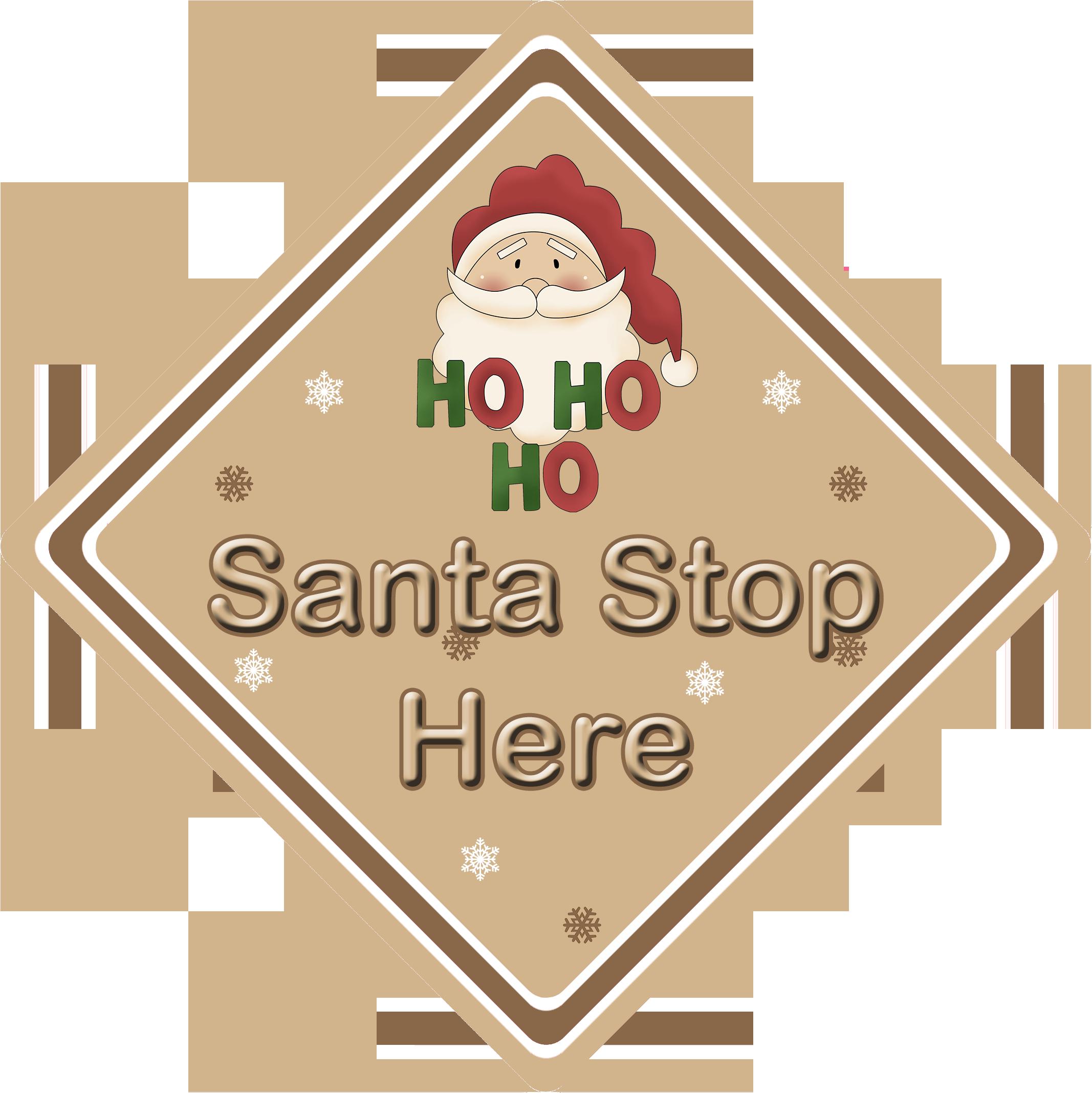 Red CarSignsDirect.com Personalised Santa Stop Here Window Sign ~ Santa Ho Ho Ho