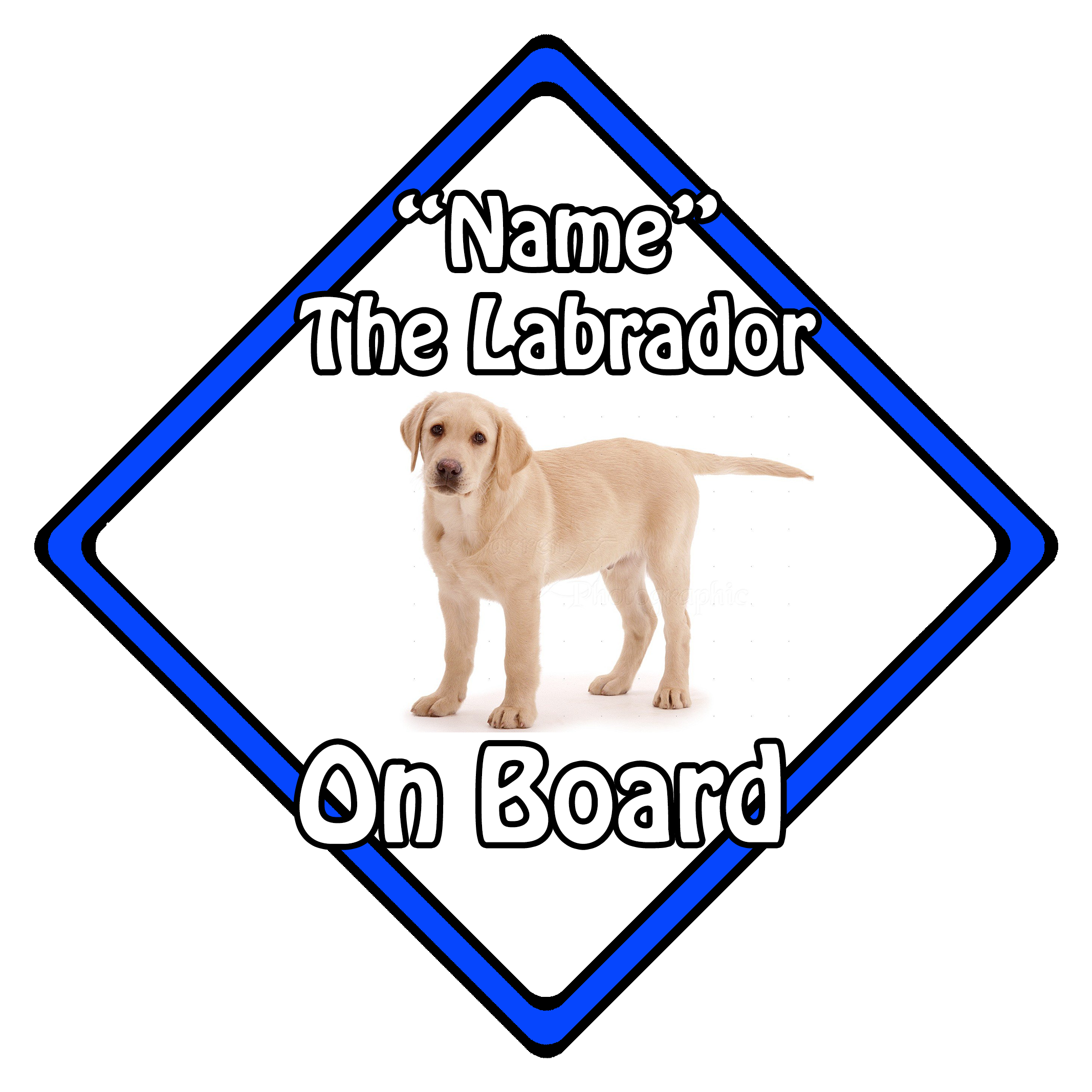 Personalised Labrador Blonde On Board Car Sign Blue