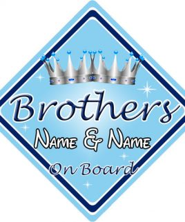 Personalised Child Baby On Board Car Sign Brothers On Board L Blue