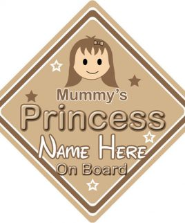 Personalised Child Baby On Board Car Sign Mummy's Princess On Board Brown Hair Girl