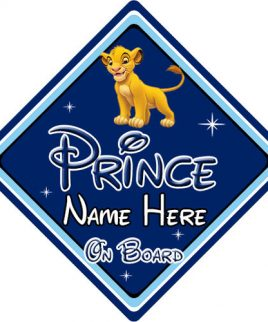 Personalised Baby On Board Car Sign Disney Pixar Lion King Simba DB