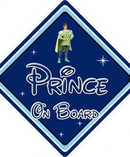 Baby On Board Car Sign Disney Pixar Princess and the Frog Naveen