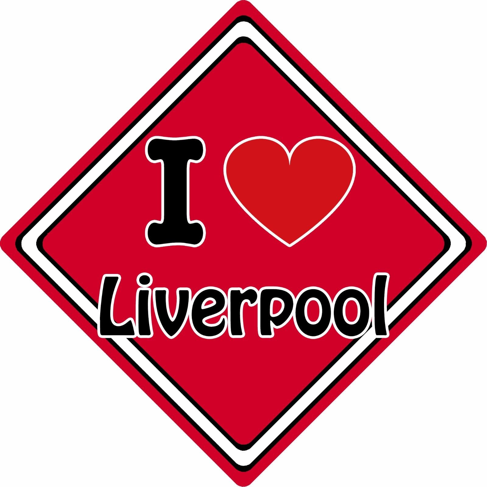 16c3fe257f9 I Love Liverpool Car Sign ~ Support Your Town City ~ Football Rugby ...