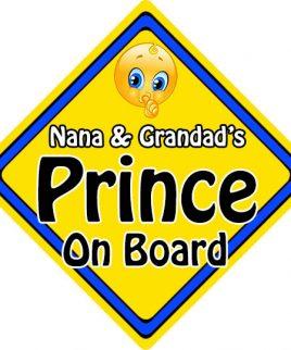 Child Baby On Board Emoji Car Sign Nana & Grandads Prince On Board