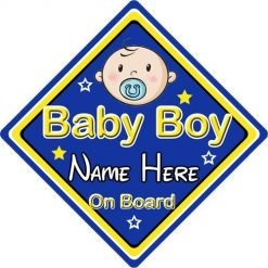 Personalised Child//Baby On Board Car Sign ~ Grandsons On Board ~ D.Blue