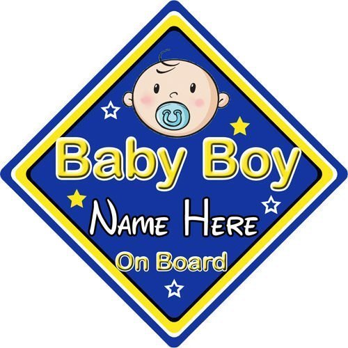 Personalised-ChildBaby-On-Board-Car-Sign-Baby-Boy-On-Board-Blue-152311626911