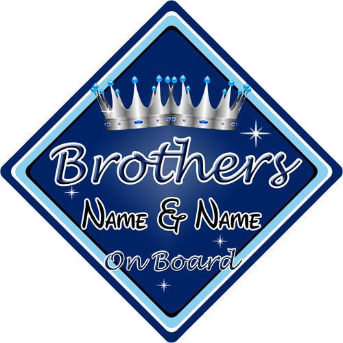 Personalised Child Baby On Board Car Sign Brothers On Board Dark Blue