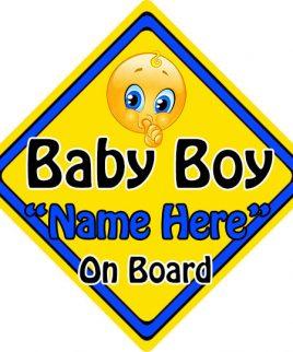 Personalised Child Baby On Board Emoji Car Sign Baby Boy On Board
