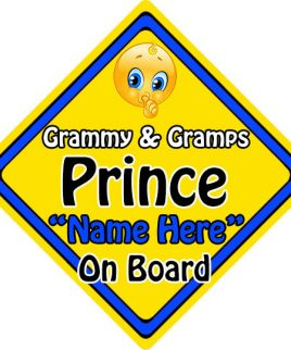 Personalised Child Baby On Board Emoji Car Sign Grammy and Gramps Prince On Board