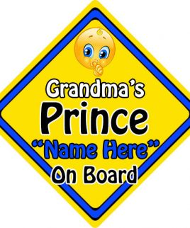 Personalised Child Baby On Board Emoji Car Sign Grandmas Prince On Board