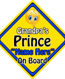 Personalised Child Baby On Board Emoji Car Sign Grandpas Prince On Board