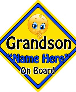 Personalised Child Baby On Board Emoji Car Sign Grandson On Board