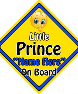 Personalised Child Baby On Board Emoji Car Sign Little Prince On Board