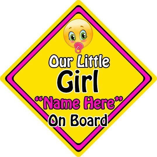 Personalised-ChildBaby-On-Board-Emoji-Car-Sign-Our-Little-Girl-On-Board-152397164451