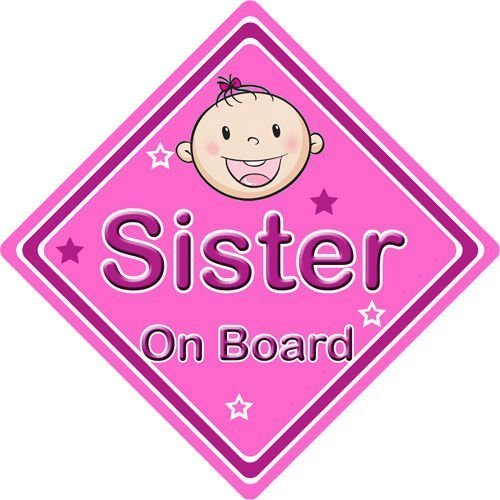Non-Personalised-ChildBaby-On-Board-Car-Sign-Sister-On-Board-Pink-152315343022