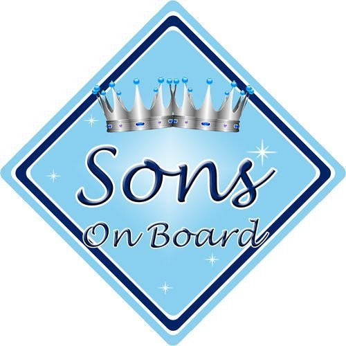 Non Personalised Child//Baby On Board Car Sign ~ Son On Board ~ L.Blue