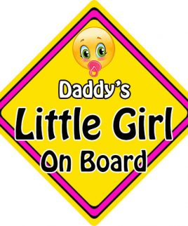 Child Baby On Board Emoji Car Sign Daddys Little Girl On Board