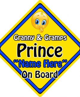 Personalised Child Baby On Board Emoji Car Sign Granny and Gramps Prince On Board