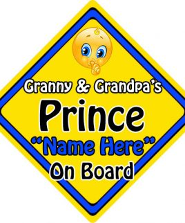 Personalised Child Baby On Board Emoji Car Sign Granny and Grandpas Prince On Board