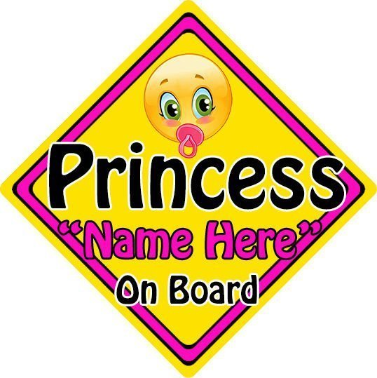 Personalised Child Baby On Board Emoji Car Sign Princess On Board