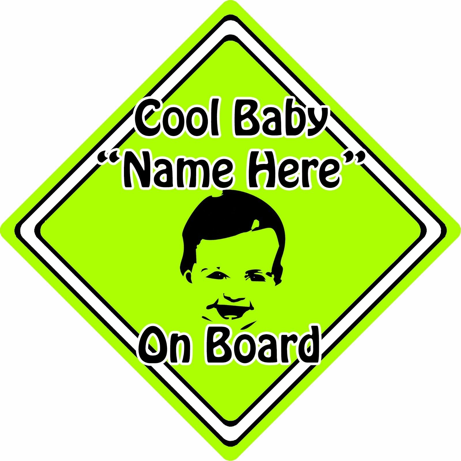 Personalised-Cool-BabyChild-On-Board-Car-Sign-Baby-Face-Silhouette-Green-152406126872