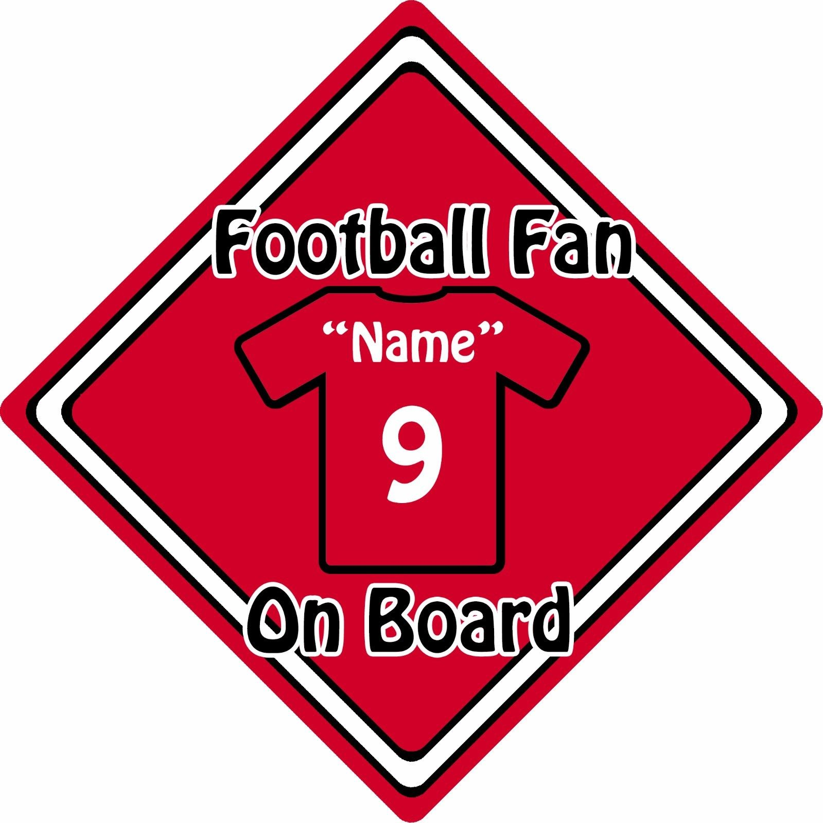 Personalised football fan on board car sign baby