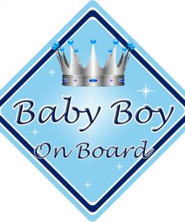 Baby Personalised Child/baby On Board Car Sign ~ Nannys Prince On Board ~ D.blue Baby Safety & Health
