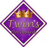 Non Personalised Child/Baby On Board Car Sign ~ Twins On Board ~ Purple