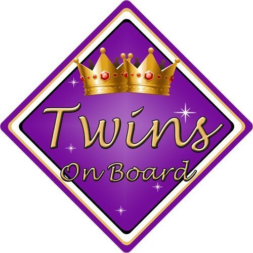 Non-Personalised-ChildBaby-On-Board-Car-Sign-Twins-On-Board-Purple-152297931673