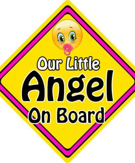 Child Baby On Board Emoji Car Sign Our Little Angel On Board