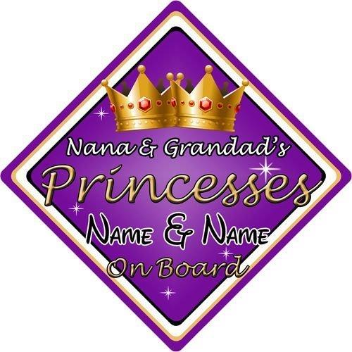Personalised Grandads  Princess Purp//gol Baby// child on Board Car Window Sign