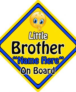 Personalised Child Baby On Board Emoji Car Sign Little Brother On Board
