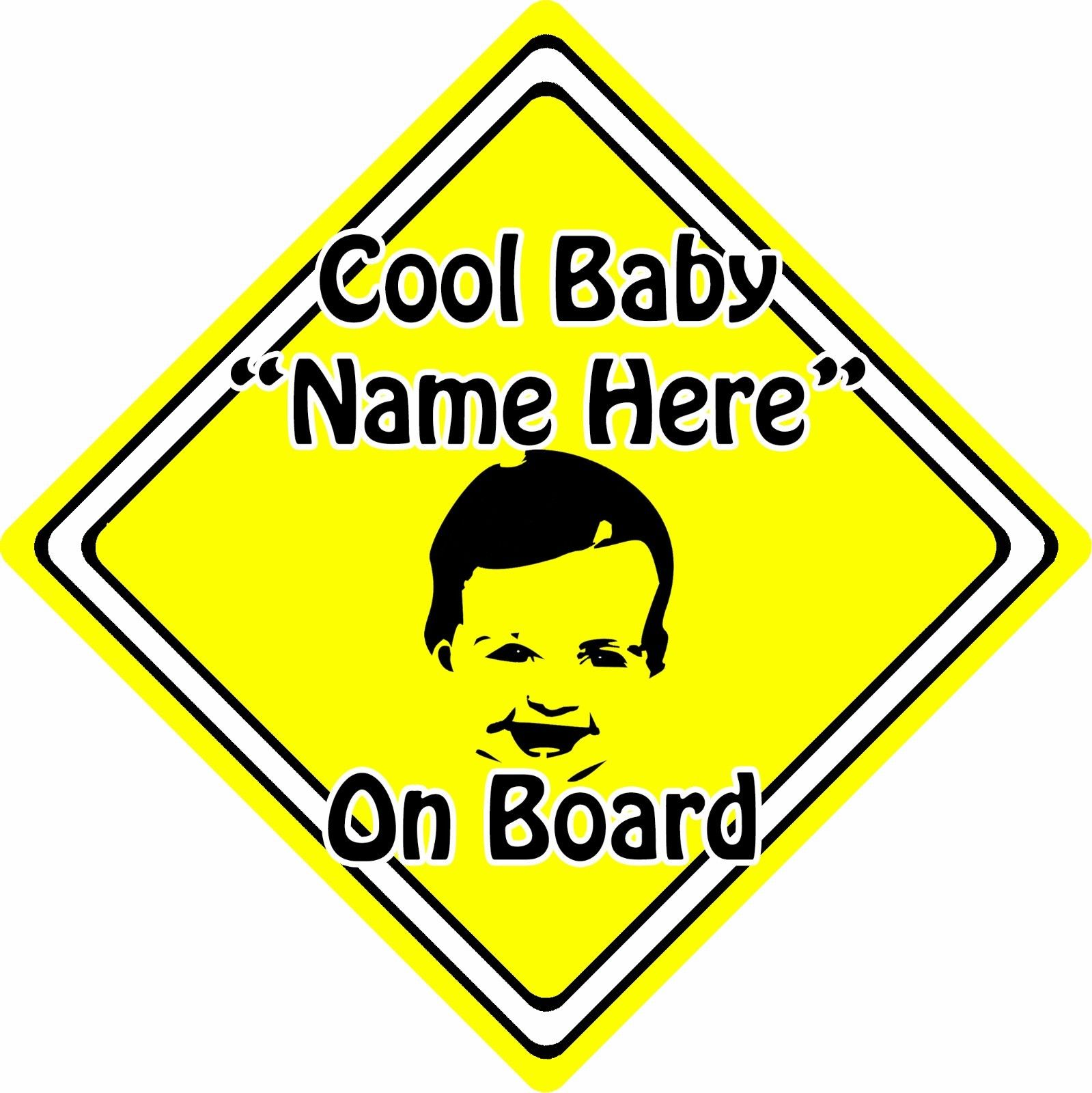 Personalised-Cool-BabyChild-On-Board-Car-Sign-Baby-Face-Silhouette-Yellow-152406129673