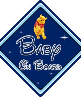 Personalised Baby On Board Car Sign Disney Pixar Winnie the Pooh