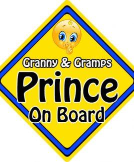Child Baby On Board Emoji Car Sign Granny & Gramps Prince On Board