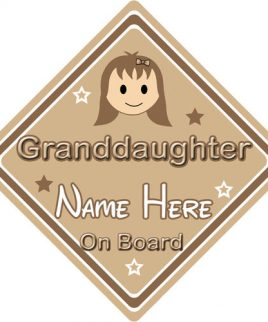 Personalised Child Baby On Board Car Sign Granddaughter On Board Brown Hair Girl