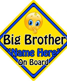 Personalised Child Baby On Board Emoji Car Sign Big Brother On Board