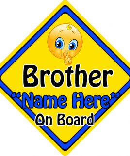 Personalised Child Baby On Board Emoji Car Sign Brother On Board