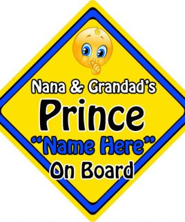 Personalised Child Baby On Board Emoji Car Sign Nana and Grandads Prince On Board