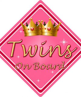 Child Baby On Board Car Sign Twins On Board Pink