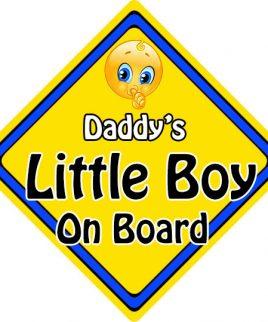 Child Baby On Board Emoji Car Sign Daddys Little Boy On Board