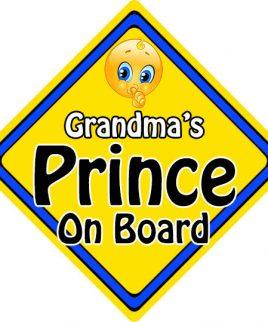 Child Baby On Board Emoji Car Sign Grandmas Prince On Board