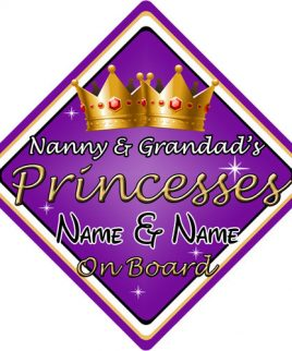 Personalised Child Baby On Board Car Sign Nanny & Grandads Princesses On Board Purple