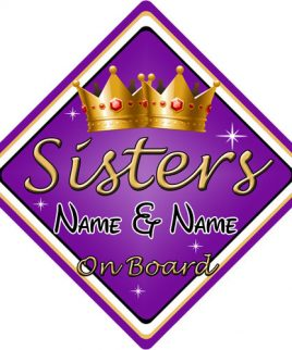 Personalised Child Baby On Board Car Sign Sisters On Board Purple