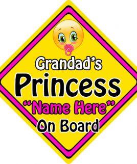Personalised Child Baby On Board Emoji Car Sign Grandads Princess On Board