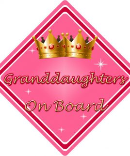 Child Baby On Board Car Sign Granddaughters On Board Pink
