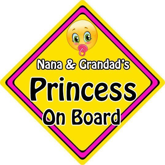 Non Personalised Child//Baby On Board Car Sign ~ Nanas Princess On Board ~ Pink