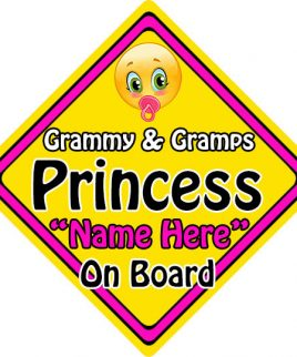 Personalised Child Baby On Board Emoji Car Sign Grammy and Gramps Princess On Board