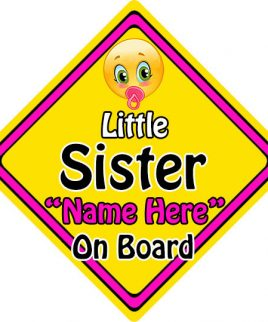 Personalised Child Baby On Board Emoji Car Sign Little Sister On Board